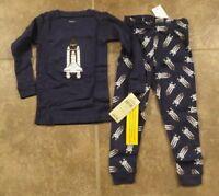 New Leveret Toddler Boys Navy Blue 2 Piece Space Shuttle Pajama Set Size 2T