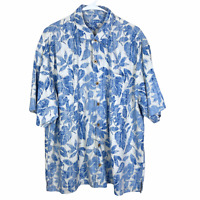 Tommy Bahama Hawaiian Shirt XL Cream White Blue Flowers Leaves 100% Silk S/S