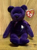 "TY Beanie Baby - ""PVC"" PRINCESS DIANA the Purple Teddy Bear (1997 -RETIRED) MINT"