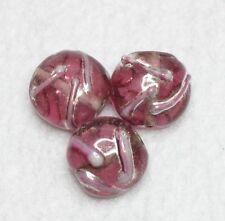 10 Indian Lampwork Perles en verre 12 x 5 mm disque rose (BBB574)