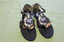 ANNE KLEIN IFLEX BLACK EMBELLISHED SANDALS WOMEN'S SZ 7 1/2M
