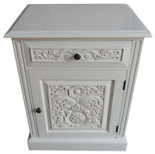 Antique White Carved 1 Drawer Bedside Locker / Table Cupboard NEW BS048P