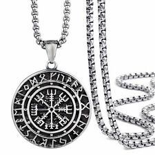 Mens Stainless Steel Viking Valknut Pirate Compass Pendant Necklace Chain Set