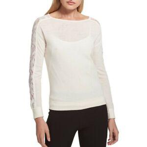 DKNY NEW Women's Ivory Lace-sleeve Boat Neck Sweater Top L TEDO