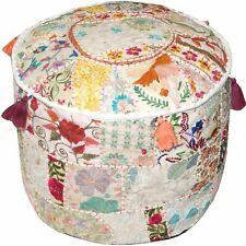"22"" Vintage White Ottoman Pouf Cover Patchwork Round Footstool Indian Handmade"