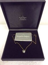 AN ORIGINAL BY GRACIE MAY OXIDISED SILVER HEART ON GOLD CHAIN BY PYRAMID GALLERY