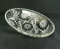 "Vintage Oval Relish Dish Small Serving Bowl Clear Pressed Glass Diamond 9"" x 6"""
