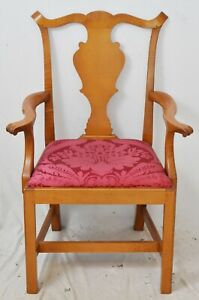 Eldred Wheeler Tiger Maple Arm Chair Bench Made Chippendale Style Damask Fabric