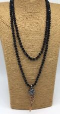 Woman Jewelry Long Knotted Tribal Glass Crystal Resin Horn Pendant Necklace