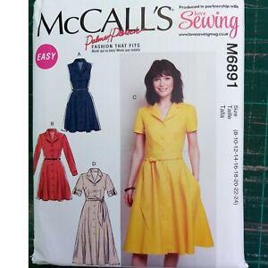 MACALLS SHIRT DRESS BUTTON FRONT SEWING PATTERN UNCUT SIZE 8-24