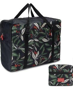Foldable Travel Tote Bag Waterproof High Capacity Storage Luggage Bag Leaves