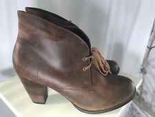 CLARKS Indigo Brown Leather Ankle Boots Lace Up Heels Women's Size 11M