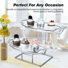 2 Tier Clear Cupcake Cake Dessert Display Stand Holder Wedding Birthday  SU UK!