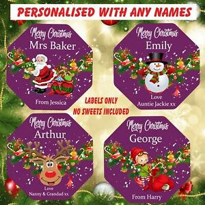 Personalised Chocolate LABELS ONLY fits Quality Street Tub Christmas Elf,Santa