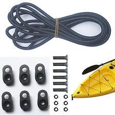 Kayak Canoes Bungee Deck kit Rigging Kit 8 Feet Black with Hard Wares-D Ring