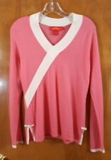 SHANGHAI TANG Size L Pink White Trim Cashmere Pullover Sweater Top