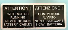 DUCATI 851 CAUTION BATTERY BOX HOLDER CAUTION WARNING RESTORATION DECAL