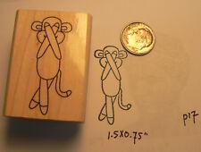 "P17 Sock Monkey Rubber Stamp WM 1.6x1"""