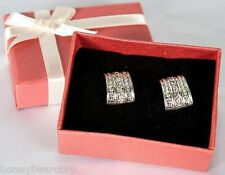 "New Avon Silver DAY TO NIGHT Faux Diamond Earrings -Beautiful Cluster 1/2"" Drop"