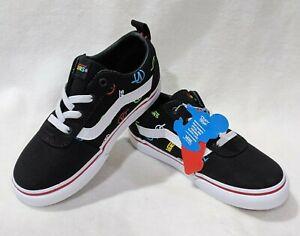 Vans Toddler Boy's Ward Rainbow Logo Black/Multi Slip On Skate Shoes-6/7/8/9/10