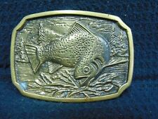 VINTAGE 1978 BTS SOLID BRASS TROUT FISHING BELT BUCKLE