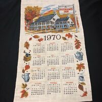 "Vintage 1970 Putnam's Inn Linen Calendar Wall Hanging 16"" x 29"" Advertising Gift"