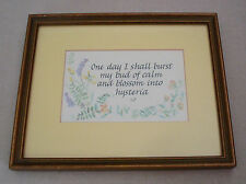 Framed Calligraphy Art Funny Quotation Watercolor Flowers Office Home Decor