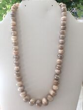 LeslieA. Designs Graduated Chocolate Moonstone Necklace With Diamond Clasp