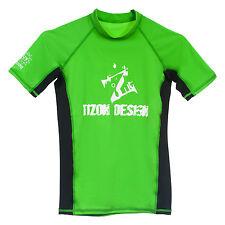 Children Kids Rashie Surf Swim Rash Vest Green & Black Size 4