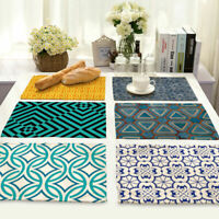Stripe Printed Cotton Linen Insulation Placemat Dining Table Mat Home Kitchen