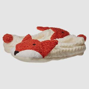 $195 Hue Women Ivory Fox Cable-Knit Cozy Slip-On Pet Slipper Shue Socks Size 5-6