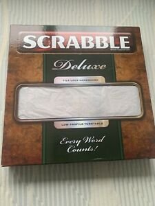 Scrabble Deluxe Board Game- Tile Lock Gameboard, Low Profile Turntable