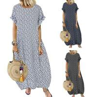 Women Short Sleeve Polka Dot Shirt Dress Long Maxi Boho Dress Sundress L-4XL