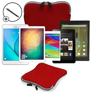 "9"" / 10"" Splashproof Neoprene Tablet Travel Pouch Sleeve Case Cover Free Stylus"