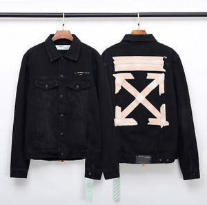hot Men's casual off&white yellow strip printing washed denim jacket 2020