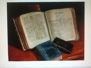 Three Bibles Original Oil Painting