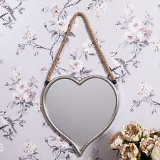 Hanging Heart Mirror Nautical Rope Champagne Silver Modern Hallway Bedroom Gift