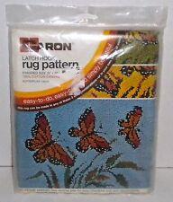 """Butterflies"" Vintage Caron Latch Hook Rug Canvas/Pattern 20""x27"" NIP  SEALED"