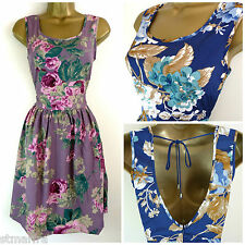 EX WHITE STUFF TEA DRESS RETRO VTG SKATER FLORAL LILAC BLUE  8 10 12 14 16 18