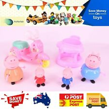 Peppa Pig Family Daddy Mummy George Travel Play Set Toy Figure Bike Scooter Moto