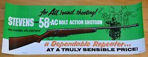 SAVAGE ARMS 1955 STEVENS 58-AC BOLT ACTION SHOTGUN UNUSED STORE DISPLAY POSTER