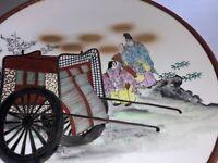 Asian Hand Painted Decorative Wall Hanging Plate Geisha Girls Wagon Trim Gold