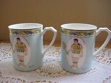 "Set Of 2 Nitto Japan Pure & White ""Tennis"" Coffee Cup Mugs (Rare)"