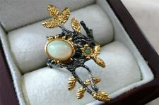 OVAL CABOCHON OPAL & EMERALD 925 STERLING SILVER GOLD LONG RING SZ O US 7.5