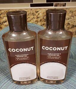 BATH & BODY WORKS COCONUT 10 FL OZ BOTTLE OF SHOWER GEL SET OF 2 BOTTLES NEW