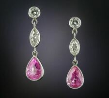 Vintage Style 2.75 Ct Pear Cut Pink Sapphire and CZ Drop Earrings in 925 Silver