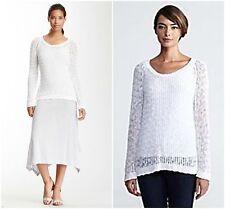 NEW!  Eileen Fisher  SZ P L  $238 White 100% Organic Cotton  Scoop Neck Sweater
