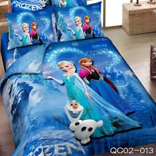 Blue Frozen Sister Queen Size Bed Quilt/Doona/Duvet Cover Set New 100% Cotton