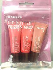 KORRES Lip Butter Gloss Trio ~ Pink, Peach, & Natural ~ 3 x 10 ml