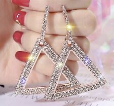 Wedding Festival Triangle Party Boutique Rose Gold Crystal Bling Fashion Earring
